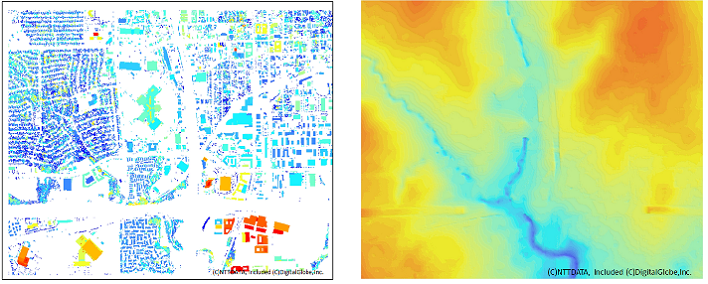 Left: DHM (Digital Height Model) Right: DTM(Digital Terrain Model)<