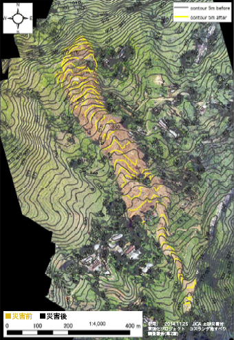 Topography comparison between pre / post-  disaster