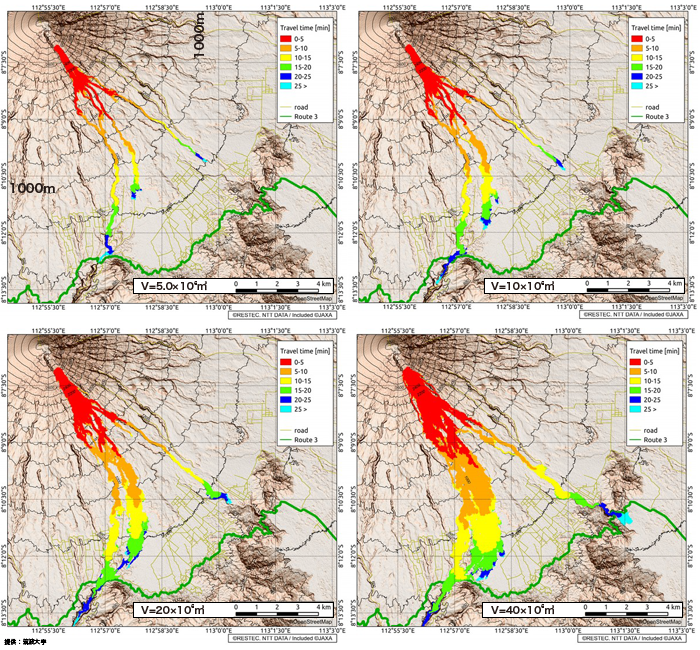 Semeru Volcano, simulation of the pyroclastic flow :travel time(V)