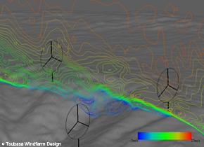 """正確な地形を活用した""""風況の把握""""による『風力発電設置場所』の選定"""