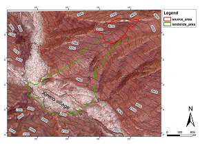 AW3D標準版5mDSMを使用して土砂崩壊シミュレーション